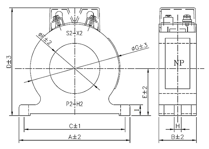 CIC Low-Voltage Current Transformer POS Series - Drawing (Dimensions)